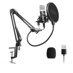 Microphone à condensateur Podcast - PC professionnel streaming cardioïde - kit - USB - 192kHZ/24bit
