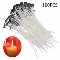 DIY candle pre waxed wicks - pure cotton - smokeless wax - 100 pieces/set