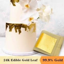 24K Goldfolie - Blattblätter - essbar - für Kuchen / Essensdekoration