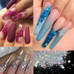 Nail glitter - silver flakes for delightful nail manicure - various colours - - 50 grams