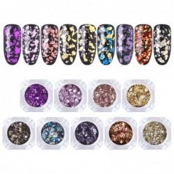 Glitter flakes - shiny - mixed colours - creative nail designing - DIY - 1 box