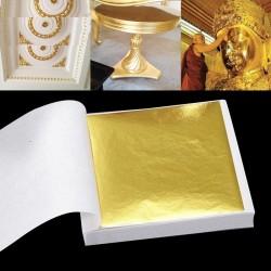 Shiny gold leaf - sheet paper - for gilding furniture / walls / craft / decoration - 9 * 9 cm - 100 sheets