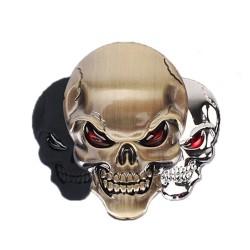 3D skull - metal car / motorcycle sticker - emblem