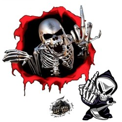 Skull finger design - vinyl car sticker