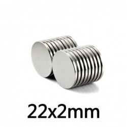 N35 - neodymium magnet - strong round cylinder - 22 * 2 mm