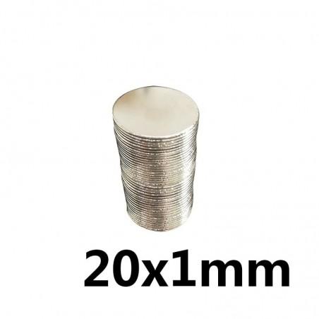 N35 - neodymium magnet - strong round disc - 20 * 1 mm