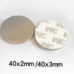 N35 - neodymium magnet - strong round disc - with 3M double-sided tape - 40 * 2mm / 40 * 3mm