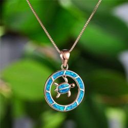 Round opal pendant with turtle - elegant necklace