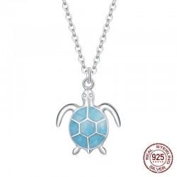 Elegante Halskette mit blauer Schildkröte - 925er Sterlingsilber