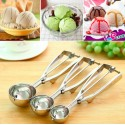 4CM 5CM 6CM Ice Cream Mash Potato Scoop Stainless Steel Spoon Spring Handle
