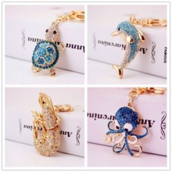 Rhinestone keychain - turtle / octopus / starfish
