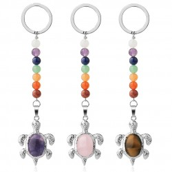 Keychain with turtle - natural stone / colorful beads