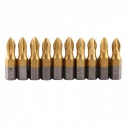 Magnetic screwdriver bit set - nonslip - titanium coated - 1/4 inch hex shank - 25mm in length - 10 pieces