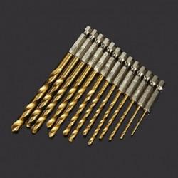 Daniu high speed drilling bit set - 13 pieces - 1.5 / 6.5mm - high speed - titanium coated
