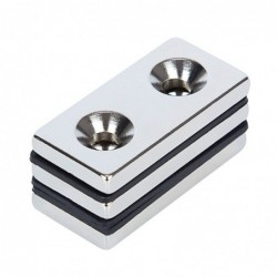 N52 - neodymium magnet - strong countersunk block - 40mm * 20mm * 5mm - with double 5mm hole - 3 pieces
