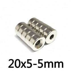 N35 - Neodym-Magnet - superstarker runder Senkkopf - mit 5mm Loch - 20mm * 5mm
