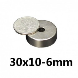 N35 - neodymium magnet - strong round countersunk - with 6mm hole - 30mm * 10mm