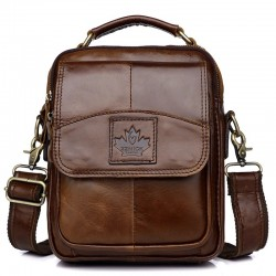 Luxurious crossbody bag - with zippers - genuine leather
