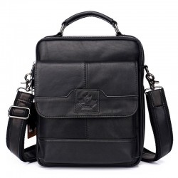 Elegant shoulder bag - with zippers - genuine leather