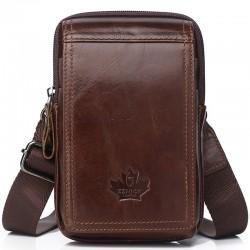 Bolso bandolera pequeño vintage - riñonera - piel auténtica - diseño con solapa