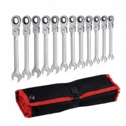 Juego de llaves para coche - tuerca de engranaje ajustable - cabezal flexible - con bolsa - 12 piezas