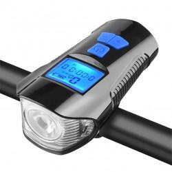 Fahrradscheinwerfer - mit Fahrradcomputer - Tacho - LCD - USB - wasserdicht