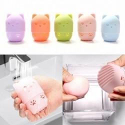 Aufbewahrungsbox für Kosmetikschwamm - Silikon-Trocken- / Reinigungskoffer - Kätzchenform