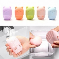 Cosmetic sponge storage box - silicone drying / cleaning case - kitten shape