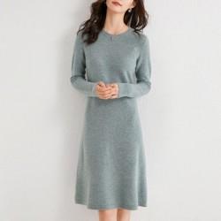 Elegant knitted dress - 100% cashmere / wool - knee length