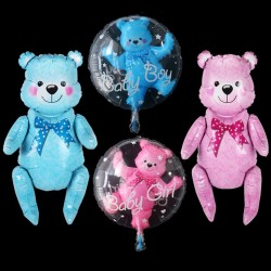 Baby shower - globos - osito de peluche / cochecito - para niños / niñas