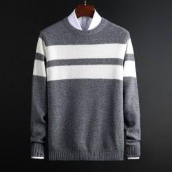Klassischer Strickpullover mit Streifen - Kaschmir / Baumwolle