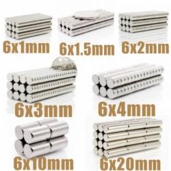 N35 - round neodymium magnet - super strong - 6 * 1mm - 6 * 20mm - 50 pieces