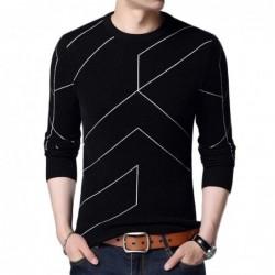 Modischer warmer Pullover - Slim Fit - geometrischer Liniendruck