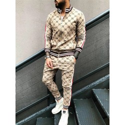 Fashionable sports tracksuit - sweatshirt with a zipper / long pants - slim fit - 3D printing