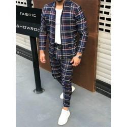Trendy men's plaid set - cardigan with zipper / stand-up collar / long pants - slim fit