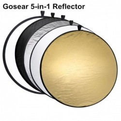 5 in 1 photography reflector - collapsible round disc - with bag - 60cm