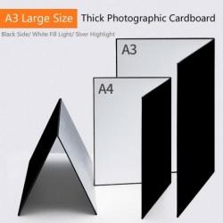 Carton photographique épais - pliable - papier réfléchissant blanc / noir / argent - A3 / A4