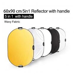 Reflector de fotografía 5 en 1 - difusor de luz - con asa / estuche de transporte - 60 * 90cm