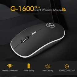 Wireless optical mouse - with USB receiver - ergonomic - silent - 2.4Ghz - 1600 DPI