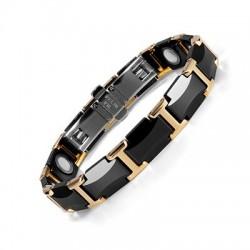 Bracelet magnétique - acier tungstène céramique noire - unisexe - radioprotection