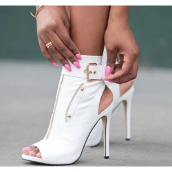 Sexy high heel boots - with zippers / buckle - ankle length - open toe / heel