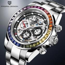 Pagani Design - reloj de cuarzo de lujo con cristales arcoíris - automático