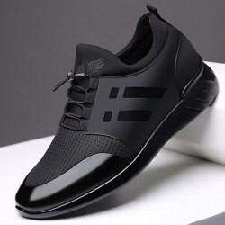 Fashionable men's sneakers - breathable - genuine leather