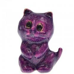 Enamel purple cat - brooch