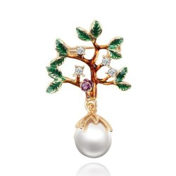 Tree with a leaves / pearl - crystal brooch