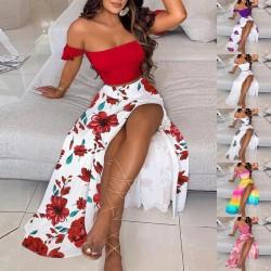 Sexy women's set - long skirt / off shoulder top - floral print