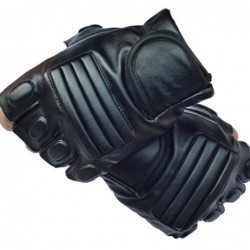 Schwarze Lederhandschuhe - Fitness / Fitnessstudio / Radfahren - halber Finger