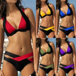 Sexy two-piece bikini set - neck tied-up - two-color