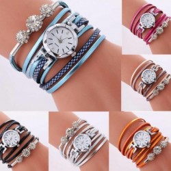 Vintage multilayer bracelet - with a round watch / crystals