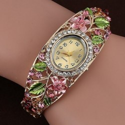 Elegant crystal bracelet - with a watch - colorful flowers - hollow out design